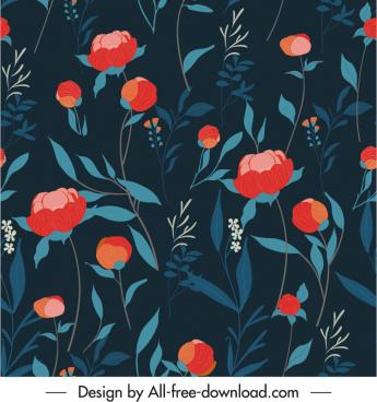botany pattern template elegant dark classic design