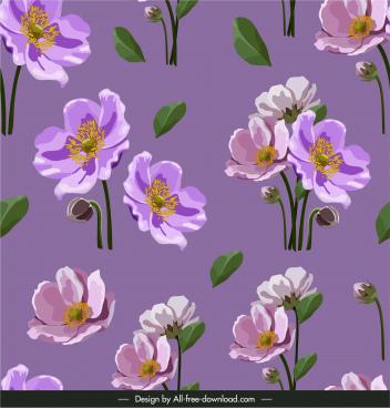 botany pattern template elegant design violet classic handdrawn
