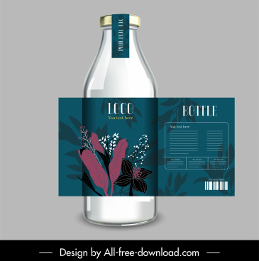 bottle badge template elegant botanical decor classic design