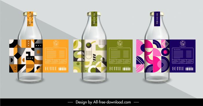 bottle decorative label templates elegant abstract geometry design