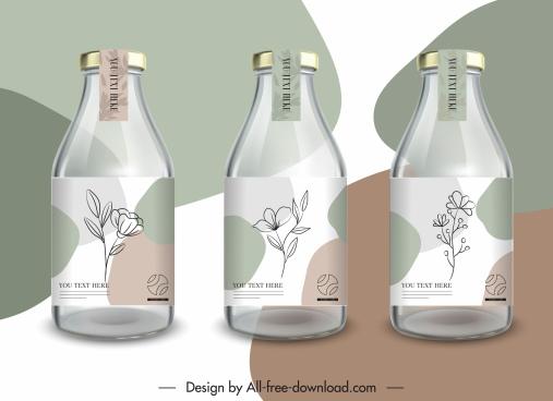 bottle labels templates elegant handdrawn flowers decor