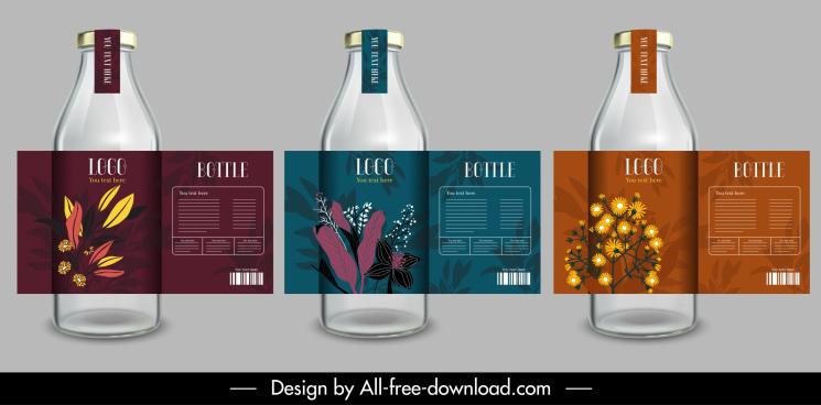 bottle labels templates modern elegant dark colored design
