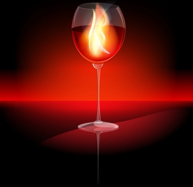 bottle of champagne goblet flames vector