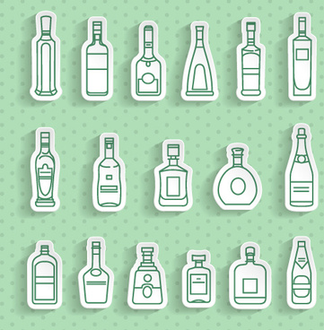 bottle stickers vector set
