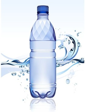 water bottle advertising background blue liquid bubbles ornament