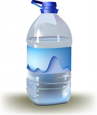 water bottle icon colored 3d sketch