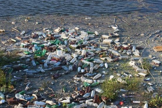 bottles dump floating
