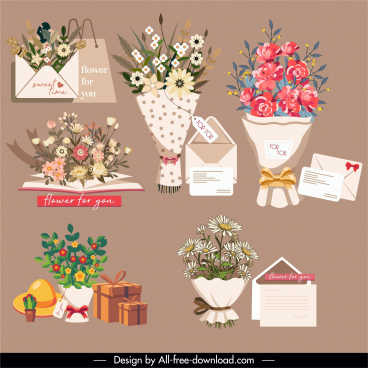 bouquet gifts design elements colorful classic sketch