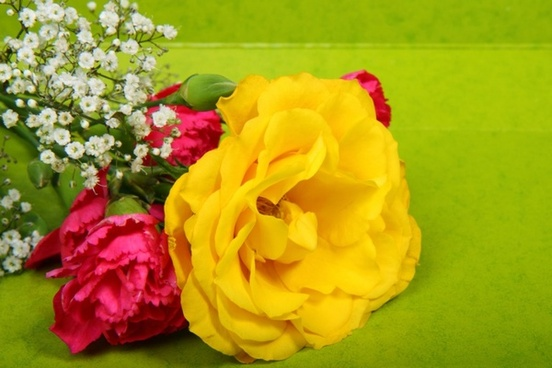 bouquet on green background