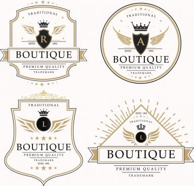 boutique logotypes royal style crown wings decoration
