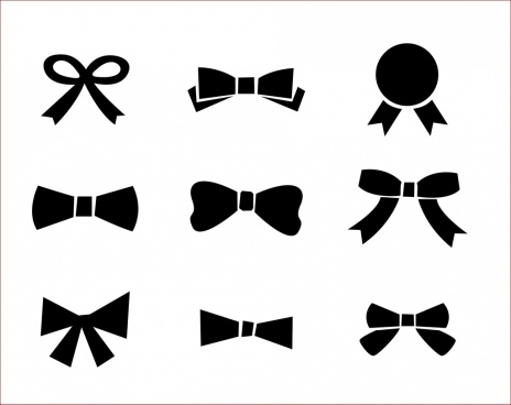 bow icons collection black silhouette sketch