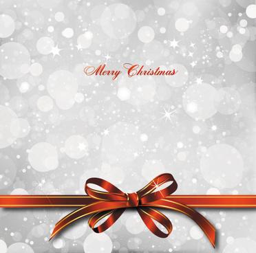 bow merry christmas cards vector