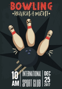 bowling tournament banner funny stylized ball icons