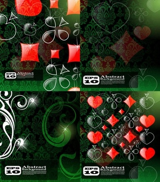 box clubs spades hearts brilliant shading pattern vector
