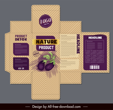 box package template vilolet eggplant sketch classical design