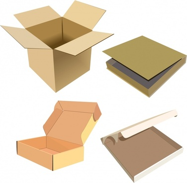 carton box icons modern 3d sketch