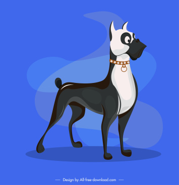 boxer dog icon black white design cartoon character
