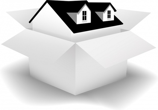 real estate background house box icon modern 3d