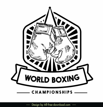 boxing championship logotype black white gloves sketch