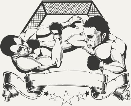 boxing club labels vintage vector