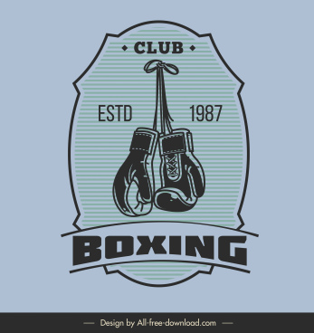 boxing club sign template flat classical gloves sketch