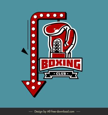 boxing club signboard template arrow glove sketch