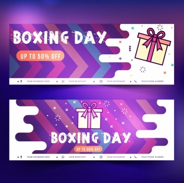 boxing day banner templates gift icons flat decor