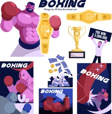boxing design elements boxers cup money icons sketch