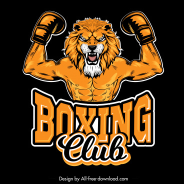 boxing logo template lion muscle man sketch