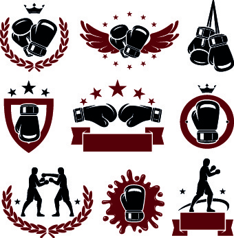 boxing logos illustration design vector