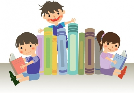 Boy and girl reading the books