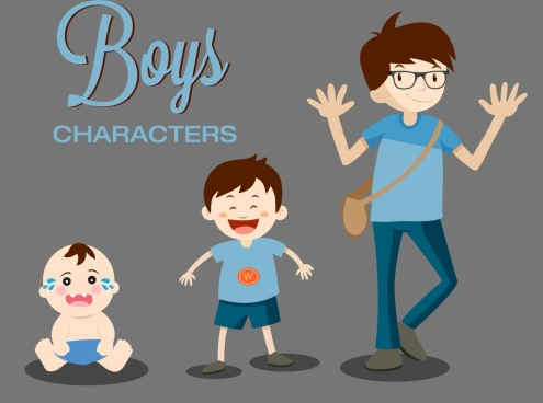 boy characters icons growing sequence cartoon design