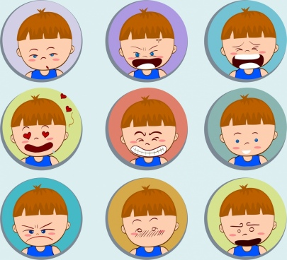 boy emotional faces icons collection round isolation