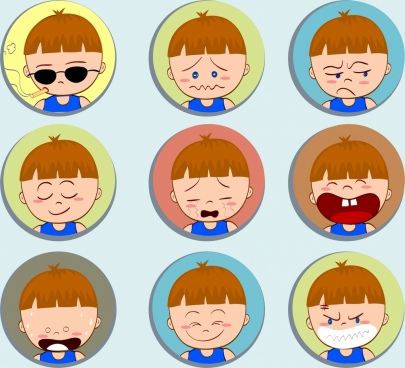boy emotional icons collection cute cartoon design