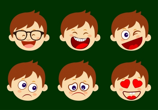 boy emotional icons various funny types head icon