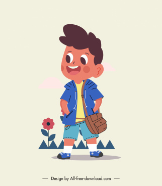 boy kid icon cute cartoon character sketch