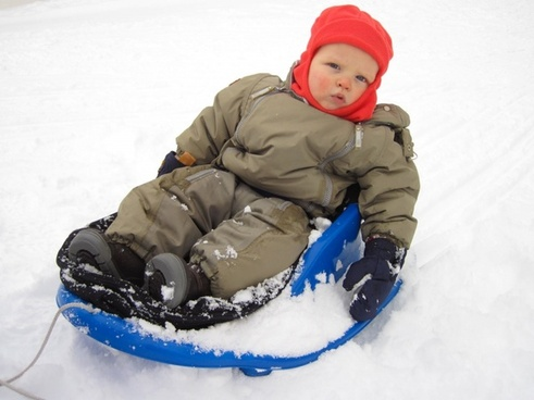 boy on the sled