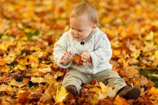 boy sitting in park in autumn
