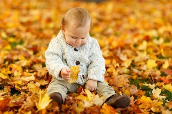 boy sitting in park in fall