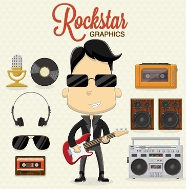 boys and rock design vector set