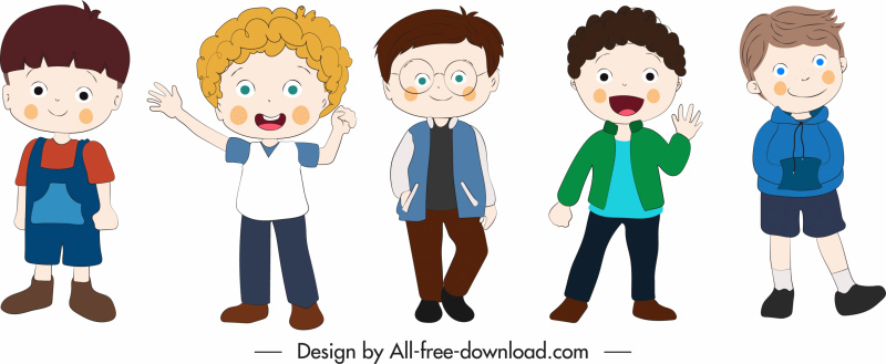 boys icons cute cartoon characters sketch