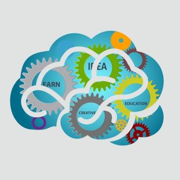 brain concept background colorful gears decoration flat design
