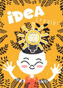brain concept background kid lightbulb icons yellow retro