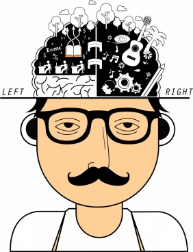 brain creativeness concept man icon head analysis decor