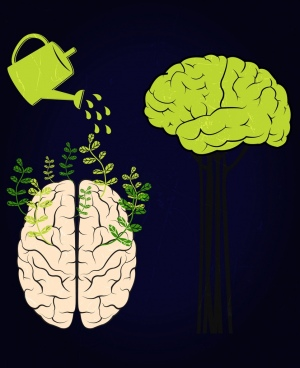 brain growing background showering pot icon dark design