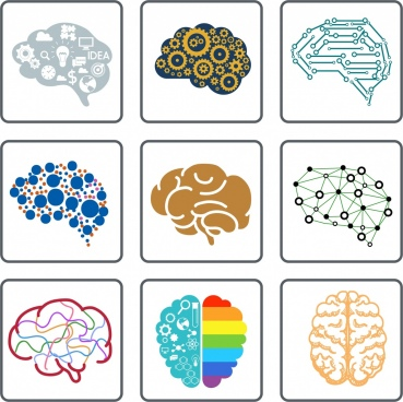 brain icons collection flat symbols isolation