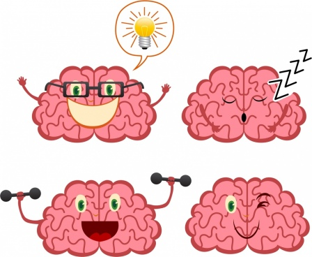 brain icons collection funny stylized design