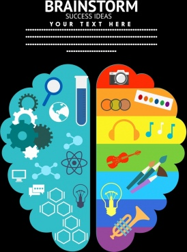 brainstorming background various colored flat icons decor