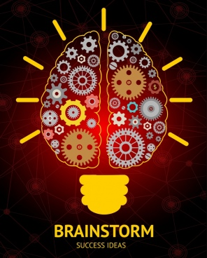 brainstorming concept background bulb flat gears icons decoration