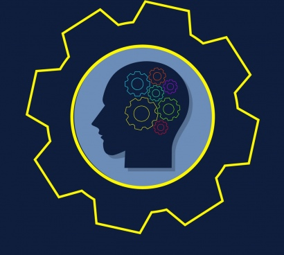 brainstorming concept outline colorful gears human head design